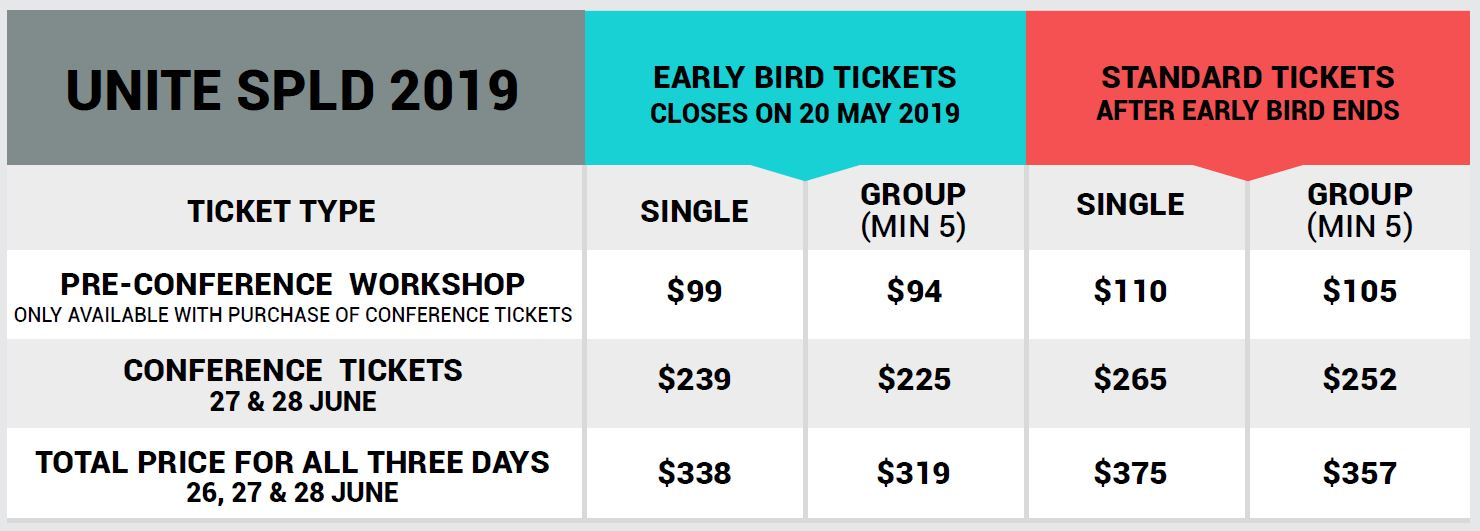 2019 UNITE Flyer ticketprices