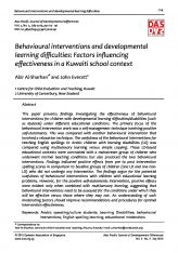 2. Behavioural interventions and developmental learning difficulties: Factors influencing effectiveness in a Kuwaiti school context