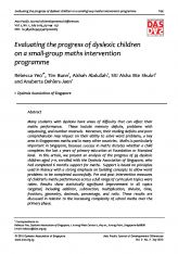 4. Evaluating the progress of dyslexic children on a small-group maths intervention programme