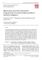 3. Effectiveness of an Early Intervention Programme for Pre-School Children at Risk of Dyslexia in Singapore