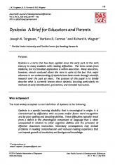 2. Dyslexia: A Brief For Educators and Parents