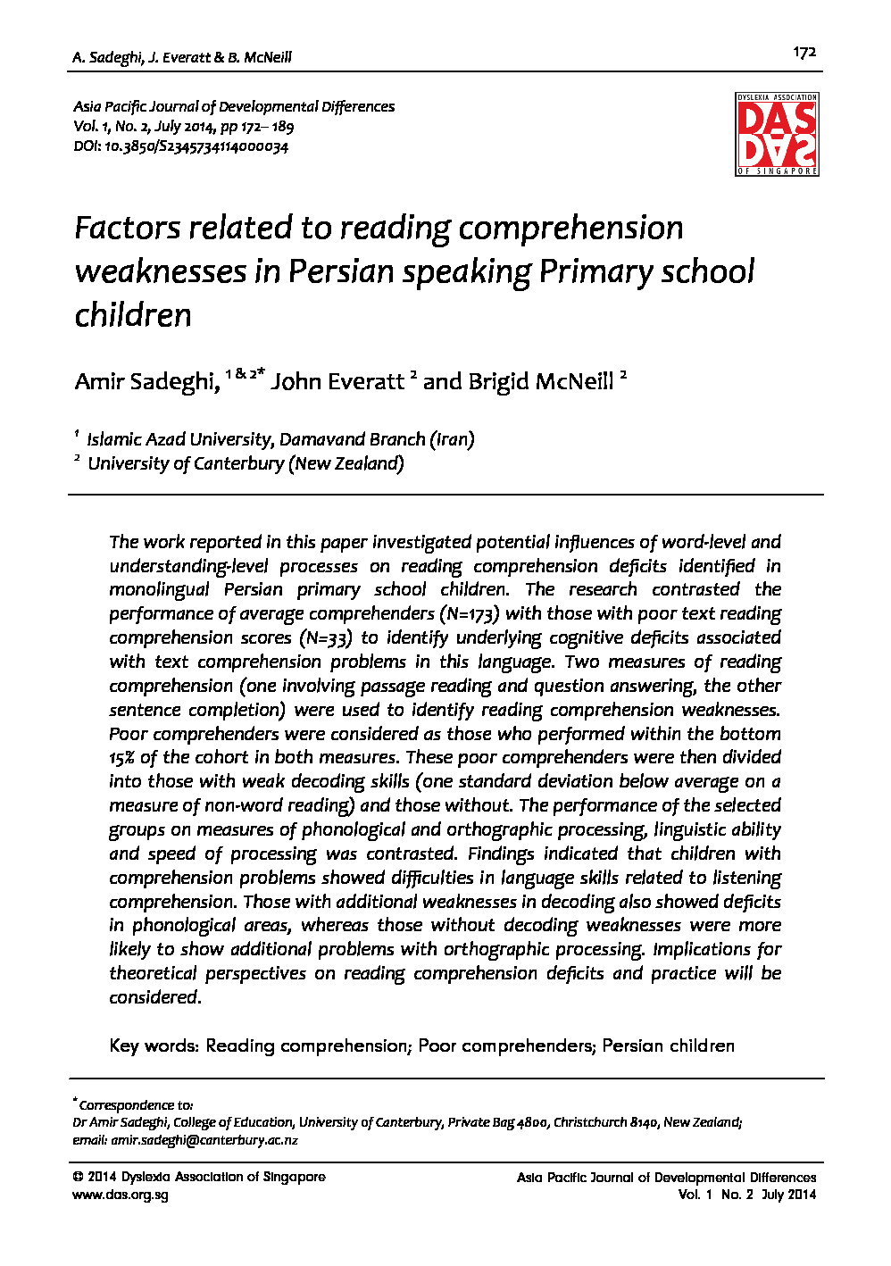 - 4. Factors Related To Reading Comprehension Weaknesses In Persian