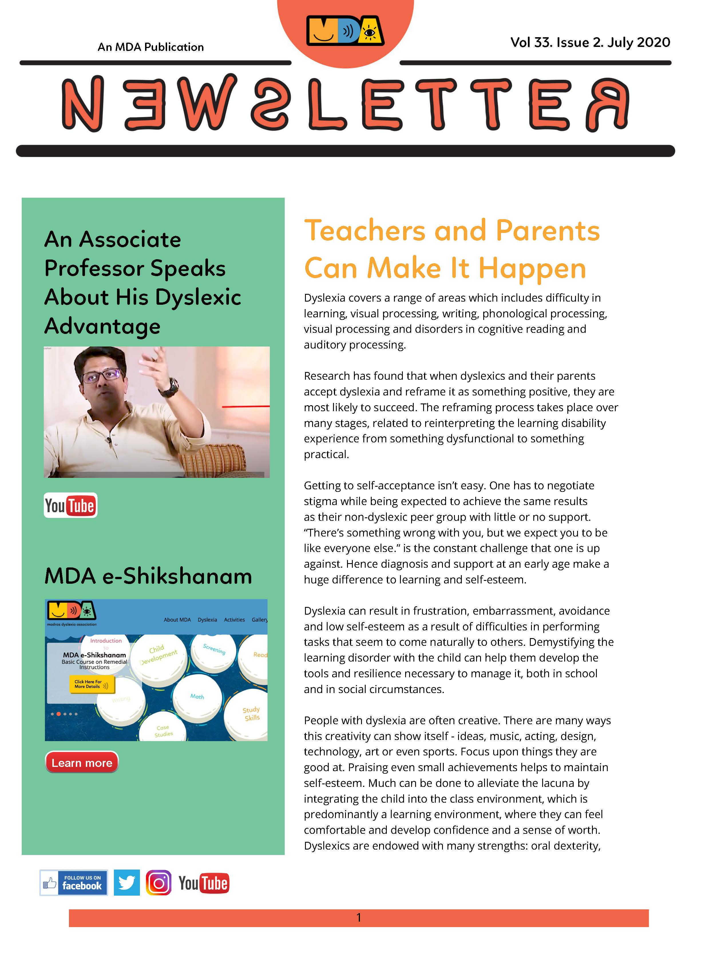 MDA Newsletter July 2020 Issue